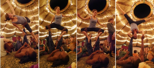 Acroyoga by the tea tent